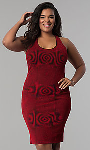 Image of red short plus-size glitter-knit party dress. Style: KIM-D2129B-F Front Image