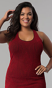 Image of red short plus-size glitter-knit party dress. Style: KIM-D2129B-F Detail Image 1