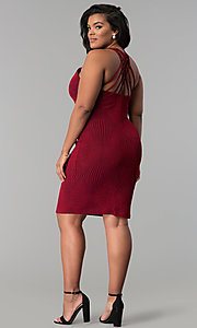 Image of red short plus-size glitter-knit party dress. Style: KIM-D2129B-F Detail Image 3