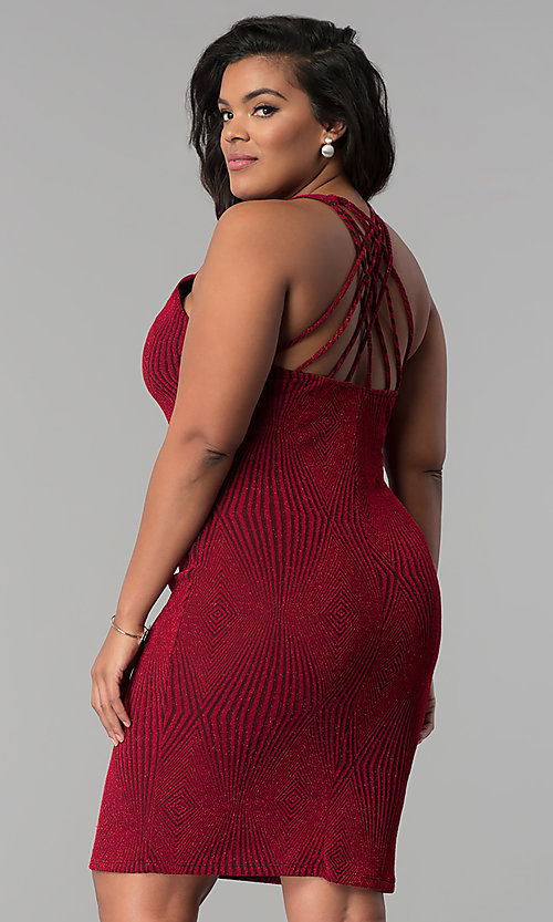Image of red short plus-size glitter-knit party dress. Style: KIM-D2129B-F Back Image