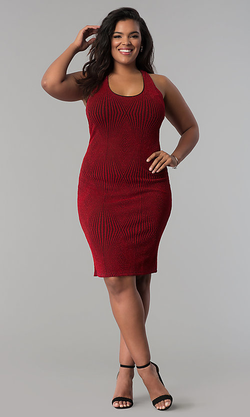Image of red short plus-size glitter-knit party dress. Style: KIM-D2129B-F Detail Image 2