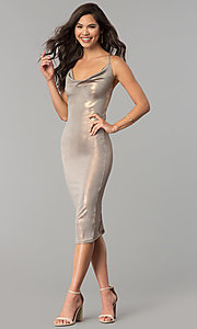 Image of cowl-neck knee-length glitter cocktail party dress. Style: KIM-D23053 Detail Image 3