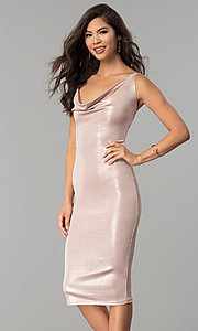 Image of cowl-neck knee-length glitter cocktail party dress. Style: KIM-D23053 Front Image
