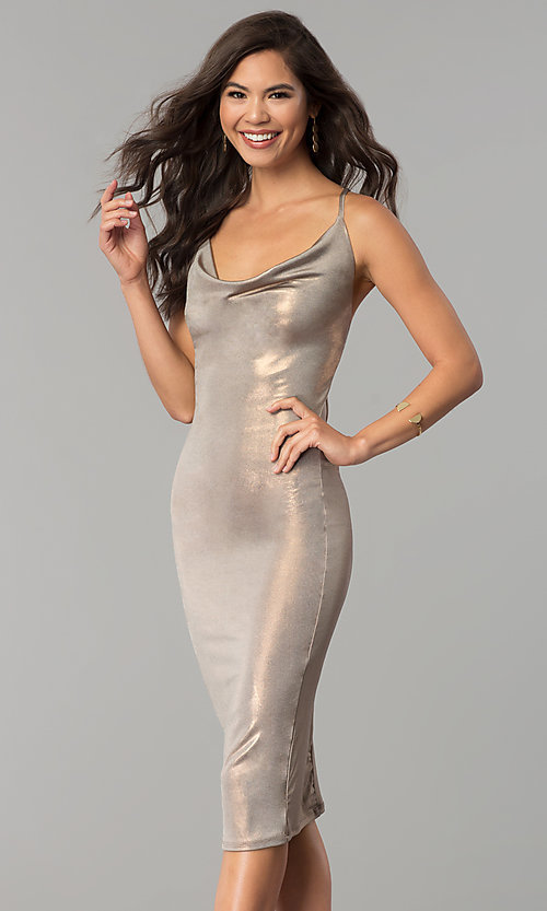 Image of cowl-neck knee-length glitter cocktail party dress. Style: KIM-D23053 Detail Image 2