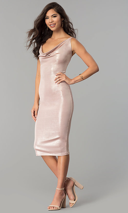 Image of cowl-neck knee-length glitter cocktail party dress. Style: KIM-D23053 Detail Image 1