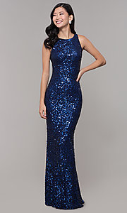 Image of caged-back long scoop-neck sequin prom dress. Style: PV-PL-101 Detail Image 1