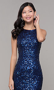 Image of caged-back long scoop-neck sequin prom dress. Style: PV-PL-101 Detail Image 3