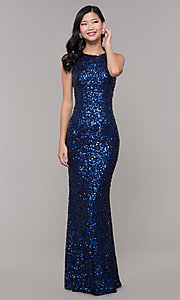 Image of caged-back long scoop-neck sequin prom dress. Style: PV-PL-101 Detail Image 5