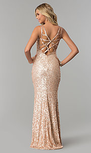 Image of caged-back long scoop-neck sequin prom dress. Style: PV-PL-101 Front Image