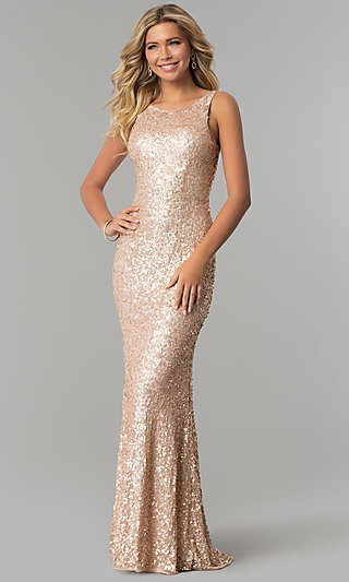 Caged-Back Long Scoop-Neck Sequin Prom Dress