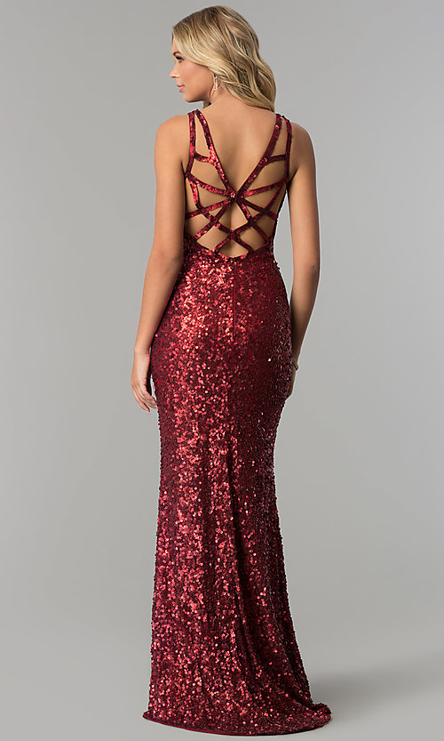 Image of caged-back long scoop-neck sequin prom dress. Style: PV-PL-101 Detail Image 2