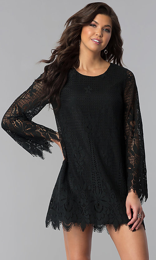 Image of lace long-sleeve short wedding-guest party dress. Style: VJ-LD41859 Front Image