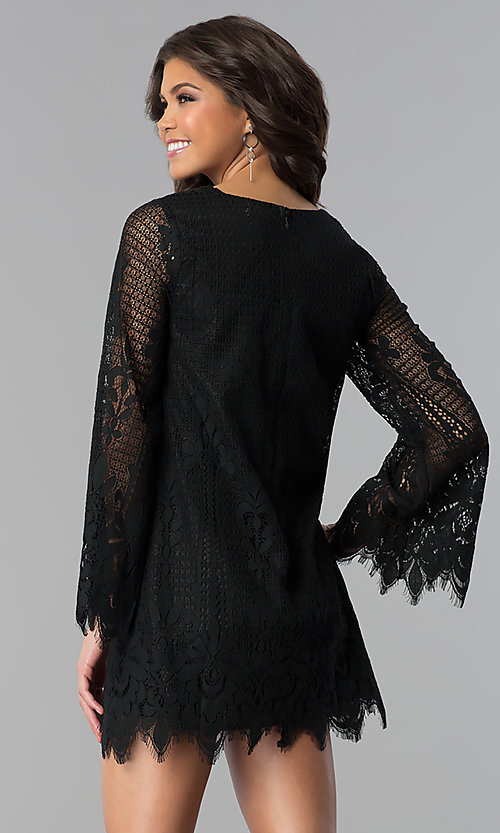 Image of lace long-sleeve short wedding-guest party dress. Style: VJ-LD41859 Detail Image 1