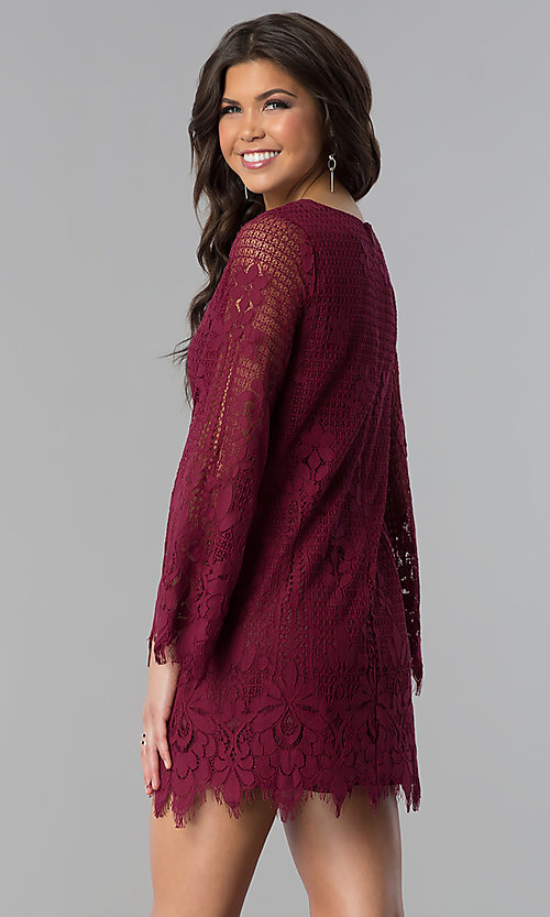 Image of lace long-sleeve short wedding-guest party dress. Style: VJ-LD41859 Back Image