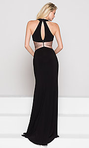 Image of high-neck long formal dress with beaded waist. Style: CD-GL-G767 Back Image