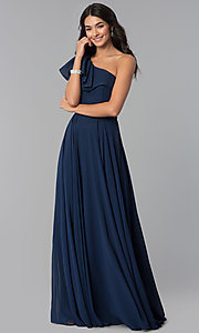 Image of chiffon long formal dress with one-shoulder ruffle. Style: CD-GL-G794 Detail Image 2