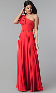 Image of chiffon long formal dress with one-shoulder ruffle. Style: CD-GL-G794 Front Image