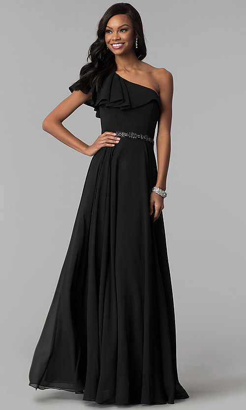 Image of chiffon long formal dress with one-shoulder ruffle. Style: CD-GL-G794 Detail Image 1