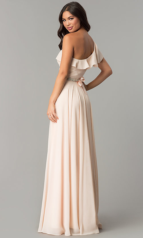 Image of chiffon long formal dress with one-shoulder ruffle. Style: CD-GL-G794 Back Image