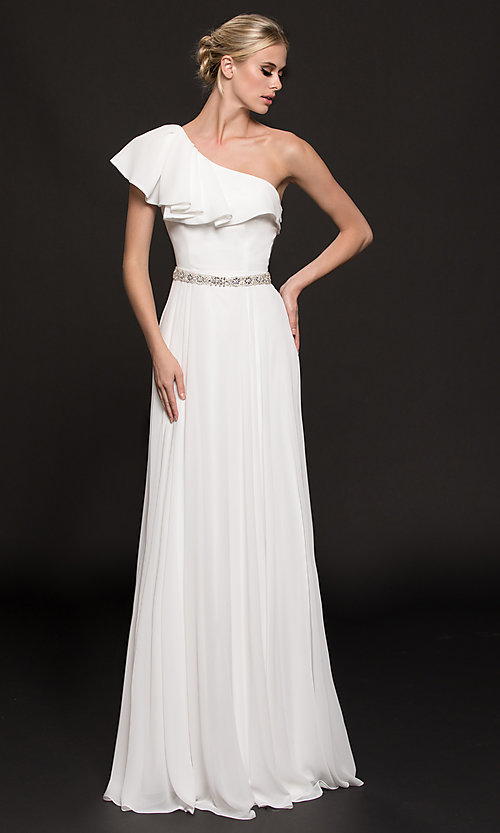 Image of chiffon long formal dress with one-shoulder ruffle. Style: CD-GL-G794 Detail Image 3