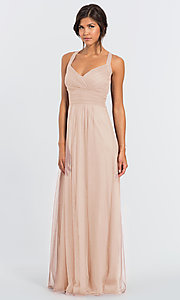 Image of long open-back bridesmaid dress by #LEVKOFF. Style: BLF-L-7012 Detail Image 5
