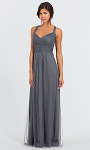 Image of long open-back bridesmaid dress by #LEVKOFF. Style: BLF-L-7012 Detail Image 3