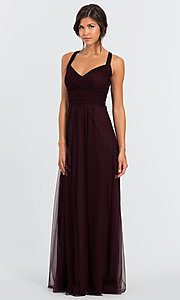 Image of long open-back bridesmaid dress by #LEVKOFF. Style: BLF-L-7012 Front Image
