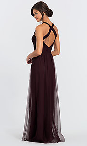 Image of long open-back bridesmaid dress by #LEVKOFF. Style: BLF-L-7012 Back Image