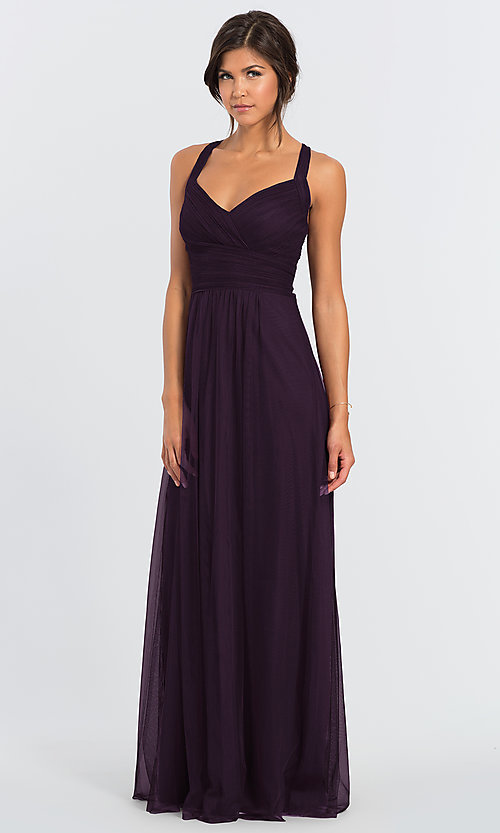 Image of long open-back bridesmaid dress by #LEVKOFF. Style: BLF-L-7012 Detail Image 4