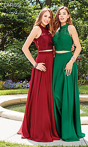 Image of high-neck long prom dress with lace top. Style: CLA-3427 Detail Image 6