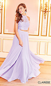 Image of high-neck long prom dress with lace top. Style: CLA-3427 Detail Image 4