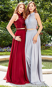 Image of high-neck long prom dress with lace top. Style: CLA-3427 Detail Image 3