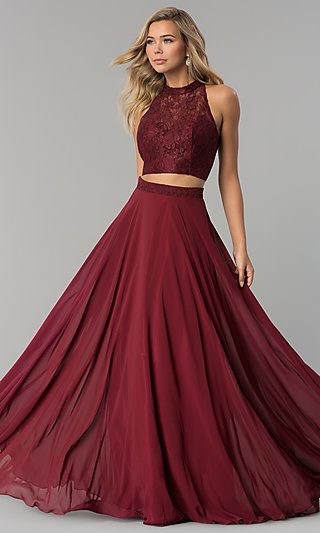 c8feaa734af High-Neck Long Prom Dress with Lace Top