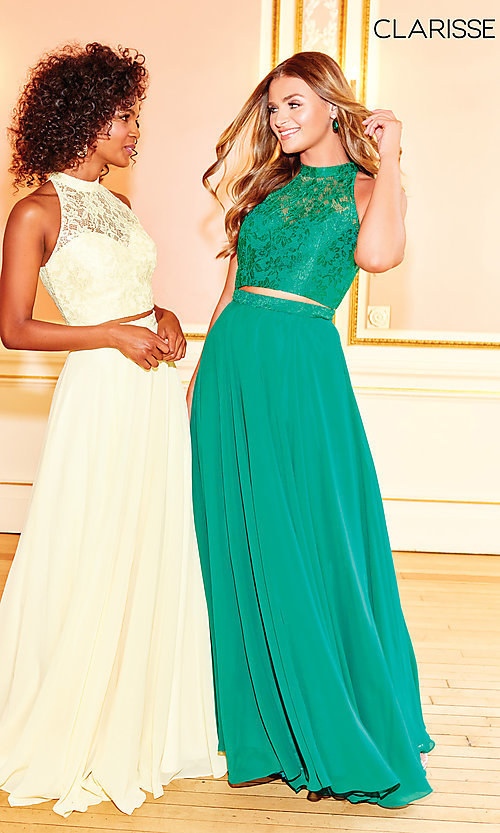 Image of high-neck long prom dress with lace top. Style: CLA-3427 Detail Image 7