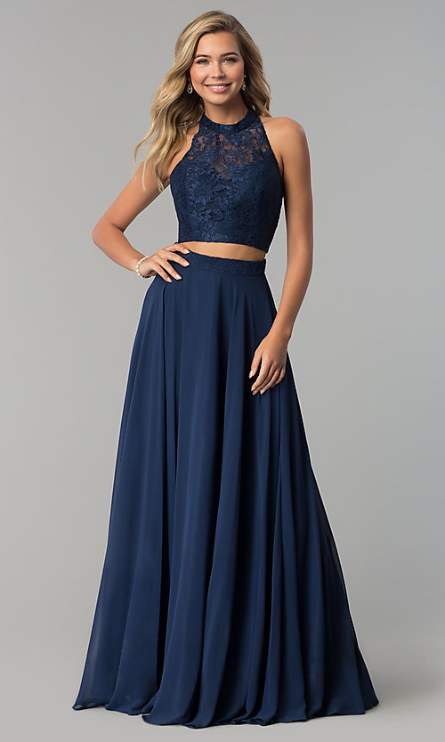 Image of high-neck long prom dress with lace top. Style: CLA-3427 Detail Image 1