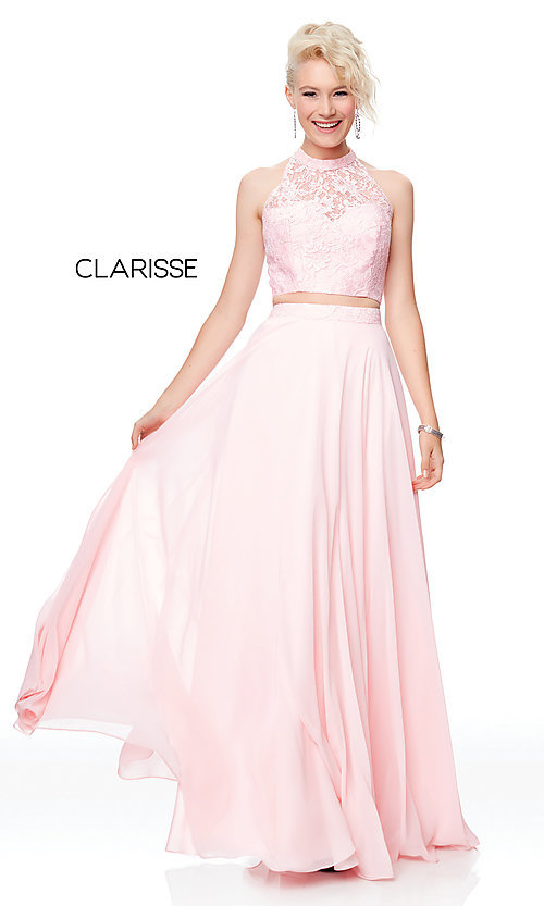 Image of high-neck long prom dress with lace top. Style: CLA-3427 Detail Image 5
