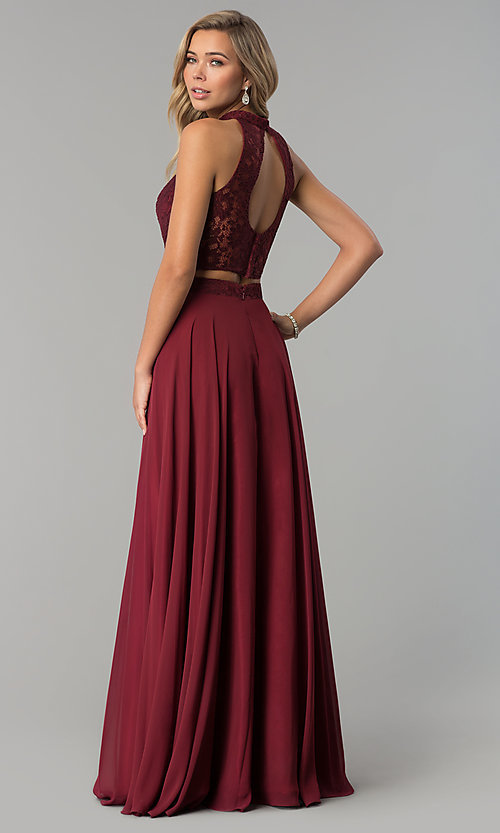 Image of high-neck long prom dress with lace top. Style: CLA-3427 Back Image