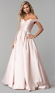 Image of corset satin off-the-shoulder long prom dress. Style: CLA-3442 Detail Image 2