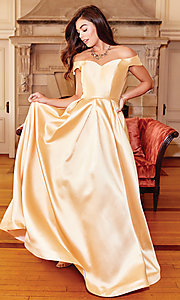 Image of corset satin off-the-shoulder long prom dress. Style: CLA-3442 Detail Image 3