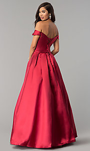 Image of corset satin off-the-shoulder long prom dress. Style: CLA-3442 Back Image
