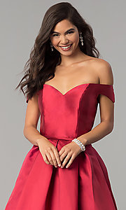 Image of corset satin off-the-shoulder long prom dress. Style: CLA-3442 Detail Image 1