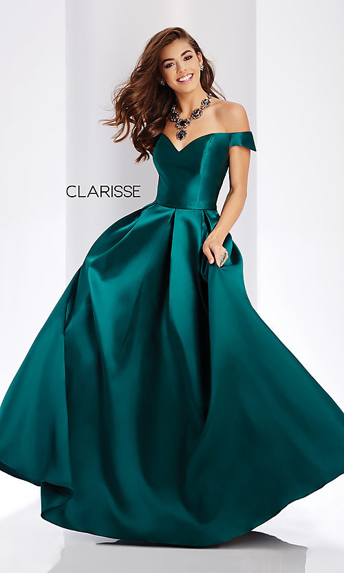 Image of corset satin off-the-shoulder long prom dress. Style: CLA-3442 Detail Image 6