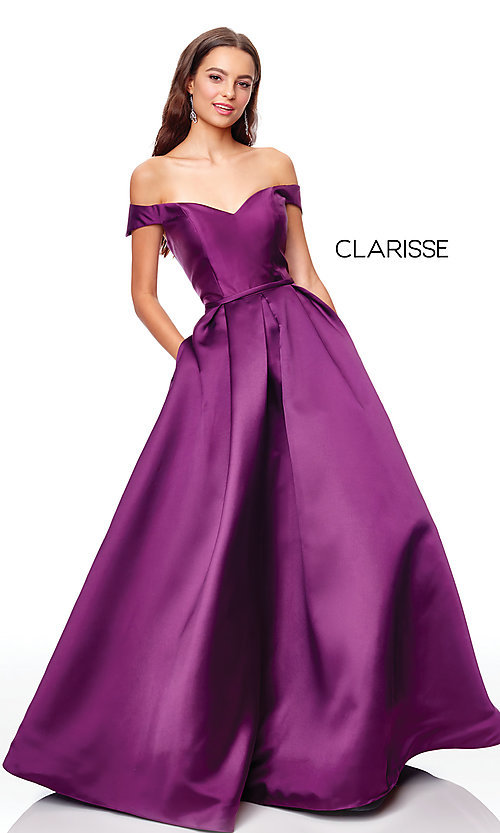 Image of corset satin off-the-shoulder long prom dress. Style: CLA-3442 Detail Image 8