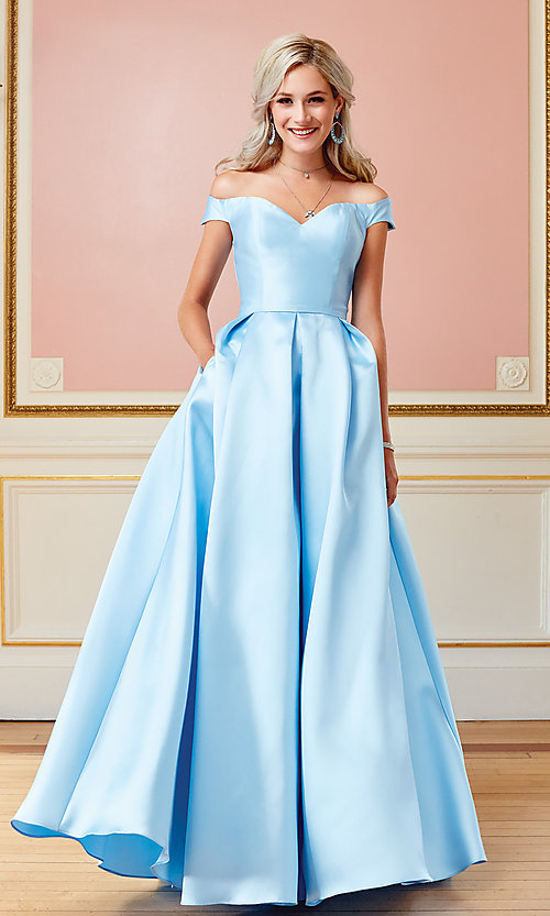 Image of corset satin off-the-shoulder long prom dress. Style: CLA-3442 Detail Image 4