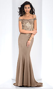 Image of embroidered long off-the-shoulder formal dress. Style: CLA-3452 Detail Image 3