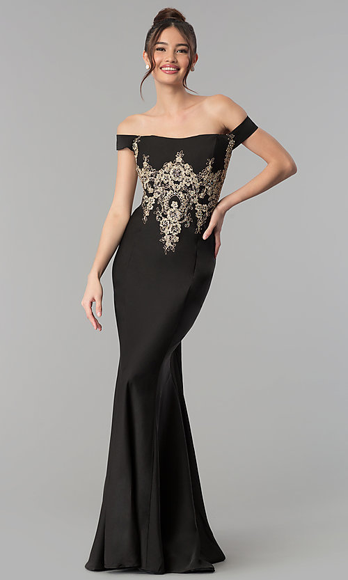 Image of embroidered long off-the-shoulder formal dress. Style: CLA-3452 Front Image