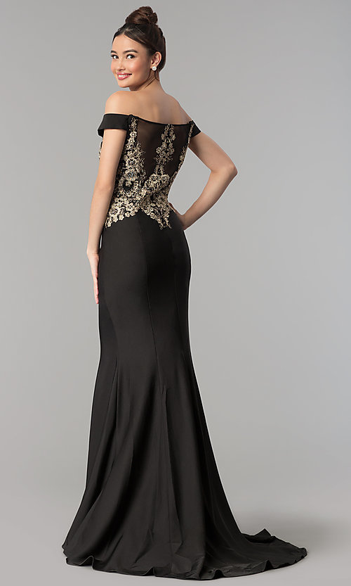 Image of embroidered long off-the-shoulder formal dress. Style: CLA-3452 Back Image