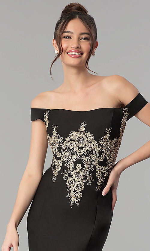 Image of embroidered long off-the-shoulder formal dress. Style: CLA-3452 Detail Image 1