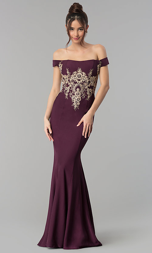 Image of embroidered long off-the-shoulder formal dress. Style: CLA-3452 Detail Image 2