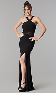 Image of long open-back prom dress with illusion paneling. Style: CLA-3483 Front Image